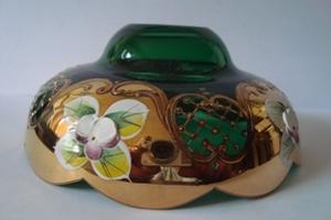 чашка смальта зеленая с сеткой №19